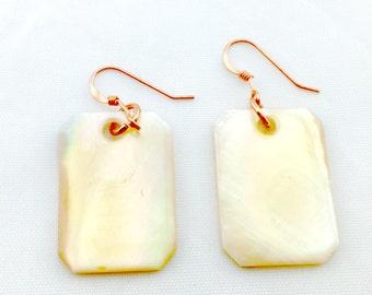 Golden Mussel Shell Earrings Tsalagi Cherokee Made