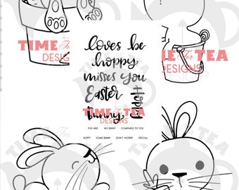 Some Bunny Collection, Digital Stamp, Papercraft, Line Drawing, Illustration, Paper Craft, Adult Colouring, card making, critters, bunnies