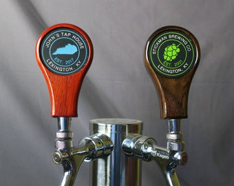 Beer tap handle, Hardwood with inset graphic, 4 inches tall