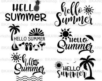 Hello Summer svg - Hello Summer vector - Hello Summer bundle digital clipart for Design or more, files download svg, png, dxf