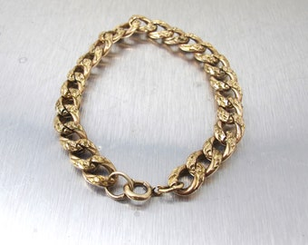 Victorian Curb Link Bracelet. Rose Gold Antique Engraved Embossed Curb Chain Bracelet.