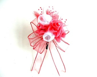 Prom corsage, Flower corsage, Homecoming corsage, Wedding corsage, Wrist corsage, Coral and white corsage, Mother of the bride corsage