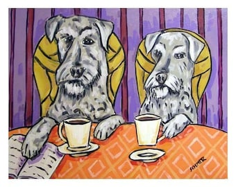 Schnauzers at the Cafe Coffee Shop Dog Art Print