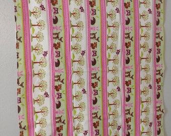 Pink Woodland Flannel Oversized Receiving Blanket - Handmade - Baby Gift - Baby Shower Gift