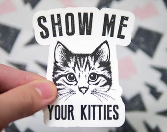 Show Me Your Kitties Funny Vinyl Sticker - Funny Cat Stickers - Cute Cat Stickers - Notebook Stickers - Car Stickers - Laptop Stickers - S77