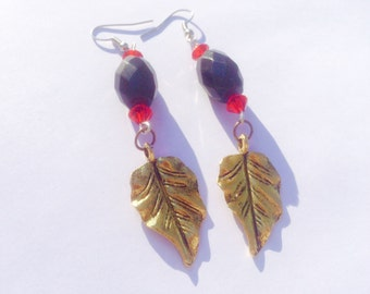 World of Warcraft Inspired Blood Elf WoW Jewelry Earrings - Gold Leaves, Red Swarovski Crystal - OOAK