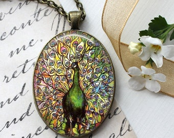Tiffany Peacock -  Oval Pendant, Necklace or Key Chain - Choice of Silver, Bronze, Copper or Black