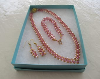 Three piece Pink Beaded Jewelry Set