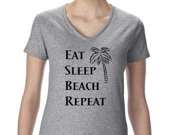 Eat Sleep Beach Repeat Women's V-Neck T-Shirt Funny Graphic Vacation Palmtree
