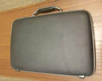 Vintage 1970s American Tourister Tiara Slim Briefcase Attache, Gray/Black Attache, Mad Men Briefcase Movie Prop Luggage Retro Luggage