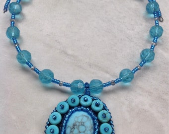 Bead Embroidered Blue Memory Wire Necklace
