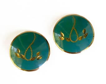 Vintage Turquoise Etched Earrings