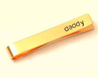 Daddy Tie Clip in Bronze Personalized for a Special Dad - Tie Bar TB129