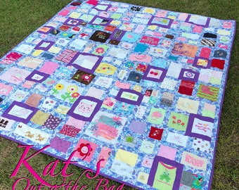 Baby Clothes Quilt | MEMORY QUILT | First Year Clothes Quilt | Keepsake Quilt | Custom Made-to-Order Quilt made from baby clothes