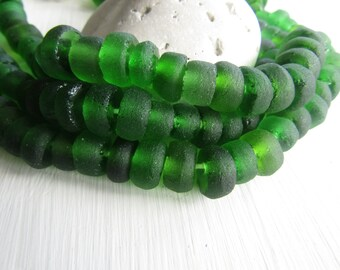Green Recycled glass beads , rondelle beads , matte frosted , irregular uneven rondelle  beads 5 to 8mm x 10 to 13mm ( 16 beads )  6ak4-2