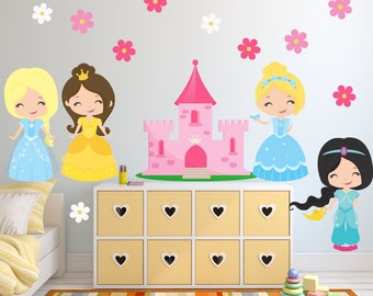 Princess Wall Decal, Girls Room FABRIC Wall Sticker Decal, Reusable Non-toxic No PVCs, SD44