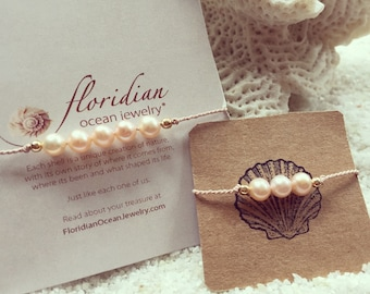 Mother Daughter Mermaid Pearl Bracelet Set