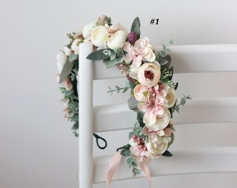 Blush pink white eucalyptus flower crown Floral halo Wedding hair wreath Bridal headpiaece Flower girl Maternity crown Bridesmaid crown Boho