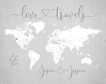 World Map Personalized Gift, Love Travels Sign, Pin Map Print Mounted, Neutral Gray Decor, Wedding Gift for Couples who Travel  | WF620