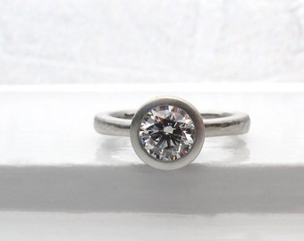 One carat diamond engagement ring, platinum tapered solitaire, 1 carat diamond engagement ring, low profile bezel ring