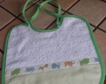 Bib white and green terry cloth.