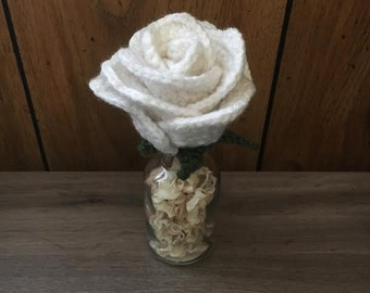Aromatherapy White Rose - Fake Roses - Flowers in Vase with Potpourri - Mothers Day Gift for Her - Gifts for Mom - Housewarming Gift