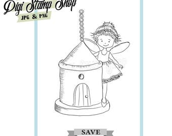 Birdhouse Stamp, Digital Stamp, Fairy Stamp, Digi Stamp, Girl Stamp, Color In Page, Card Design, Lineart, Fairy House stamp,