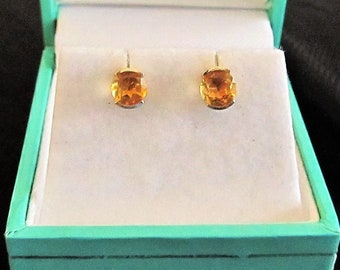 Citrine Earrings in 14k with a sleek design that has the WOW factor!