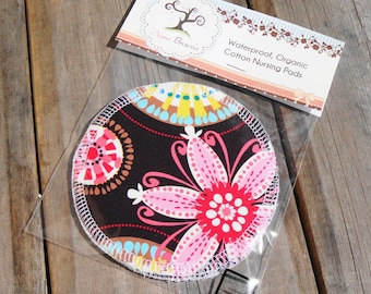 Reusable Nursing Pads, Waterproof Organic Cotton Flannel - Michael Miller Carnival Bloom