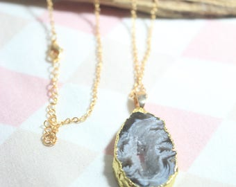 A c h a T necklace chain agate strangles with hole gilded stone No. 30