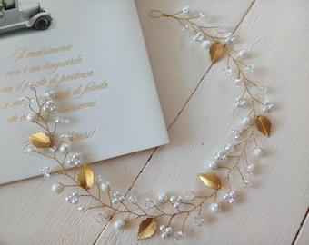 Gold bridal leaves hair vine Wedding headpiece tiara Boho hair piece Bridesmaid gift jewelry