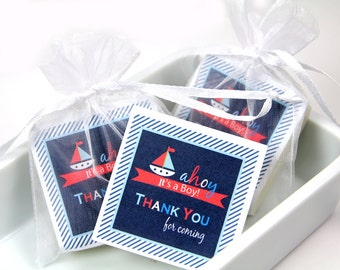 Baby Shower Favors, Nautical shower soap favors, Baby Shower Boy - 10 Soaps