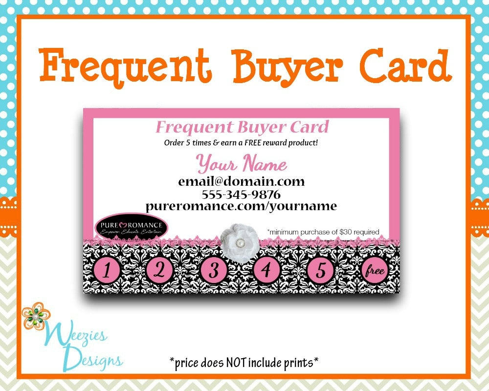 Pure Romance Frequent Buyer Card Business Card Direct Sales