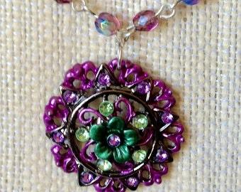 Pendant Necklace, Purple and Green Pendant Necklace, Amethyst Beaded Chain Necklace, Amethyst Necklace