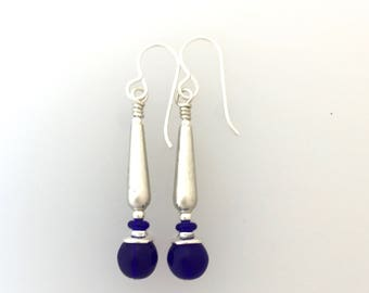 Cobalt Glass  And Sterling Silver Earrings  (med)