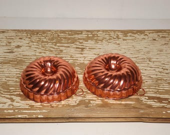 "Copper swirl jello molds,mini baking molds,set of 12,aluminum jello molds,cake molds,ice cream,bakery decor,bakeware,3"" jello mold set,"