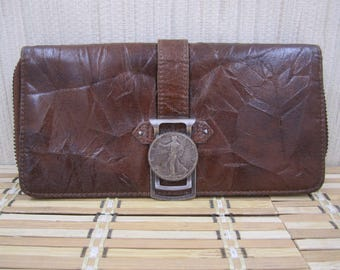 Lovely Vintage soft  Faux  brown leather wallet