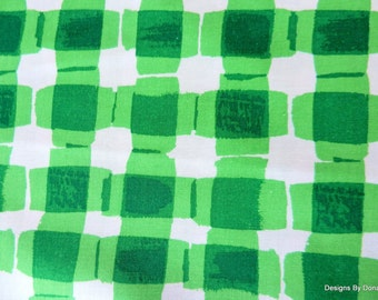 "One Yard Cut Quilt Fabric, Green and White Plaid Pattern, ""Mad for Melon"" by Maria Kalinowski 4 Kanvas, Sewing-Quilting-Craft Supplies"