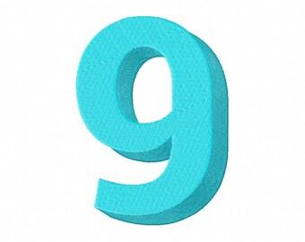 Blue Number Nine Machine Embroidery Design