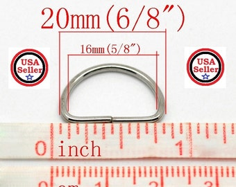 Count of (50) 20MM Lite Metal D Rings Jewelry Findings 6/8 inch D Rings Nickel Free Silver Color Great For DIY Crafts