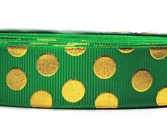 "2 or More Yards 7/8"" Emerald - Kelly Green with Gold Foil Bling Polka Dot Print Grosgran Ribbon - U.S. Designer"
