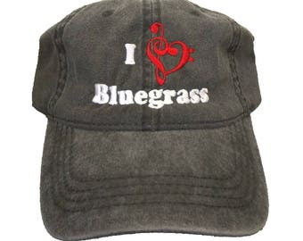 I Love Bluegrass Embroidered Washed Cotton Six Panel Unstructured Dad Hat