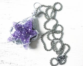 Stargazer Necklace, Amethyst Star, Amethyst Necklace, All-Healing, Moonchild, Moon Child, Harmony, Good Vibes, Star Necklace, Galaxy