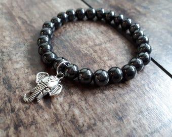 Boho Beaded Bracelet - Elephant Charm