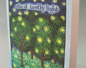 5 x 7 Notecard - A005 Echo of FIREFLY LIGHT // firefly art / nature card / illustration card / tree card / insect art / trees / night