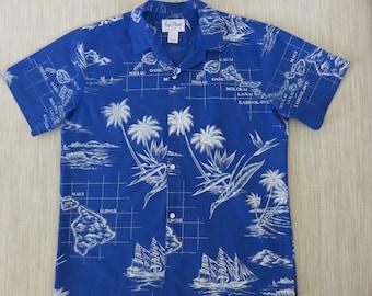 Hawaiian Shirt Map Shirt RAI NANI Vintage Aloha Shirt Schooner Ship Hawaii Islands Maui Bird of Paradise Mens - L - Oahu Lew's Shirt Shack