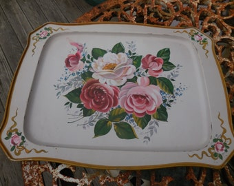 Vintage Light Pink Toleware Metal Tray Pink/White/Red/Burgundy/Maroon Roses Gold/Green/Blue 1950s Decor Wall Hanging