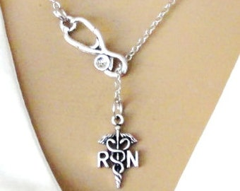 RN Registered Nurse Necklace Lariat Medical Student Graduation Gift