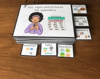 ASL (Sign Language) Visual Calendar Time Flashcard Dictionary