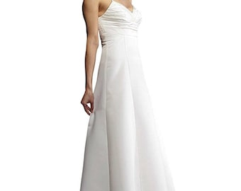 Elegant Standesamtkleid in satin size 34, white